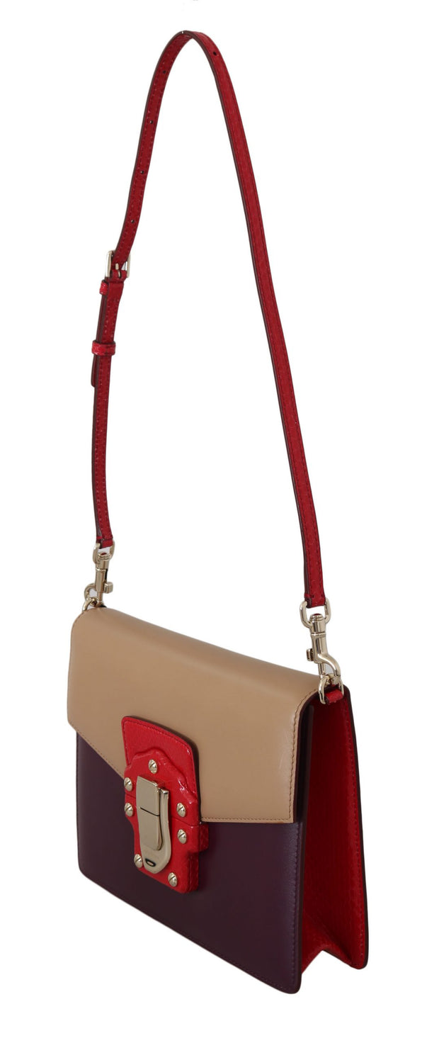 Dolce & Gabbana Purple Beige Red Leather Crossbody LUCIA Purse One