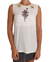 Dolce & Gabbana White Silk Embellished Crystal Sequin Fairy Top - Azura Runway
