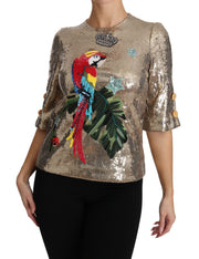 Dolce & Gabbana Gold Sequined Parrot Crystal Blouse - Azura Runway