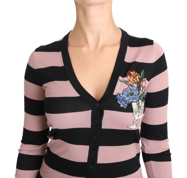 Dolce & Gabbana Pink Floral Cashmere Cardigan Sweater - Azura Runway