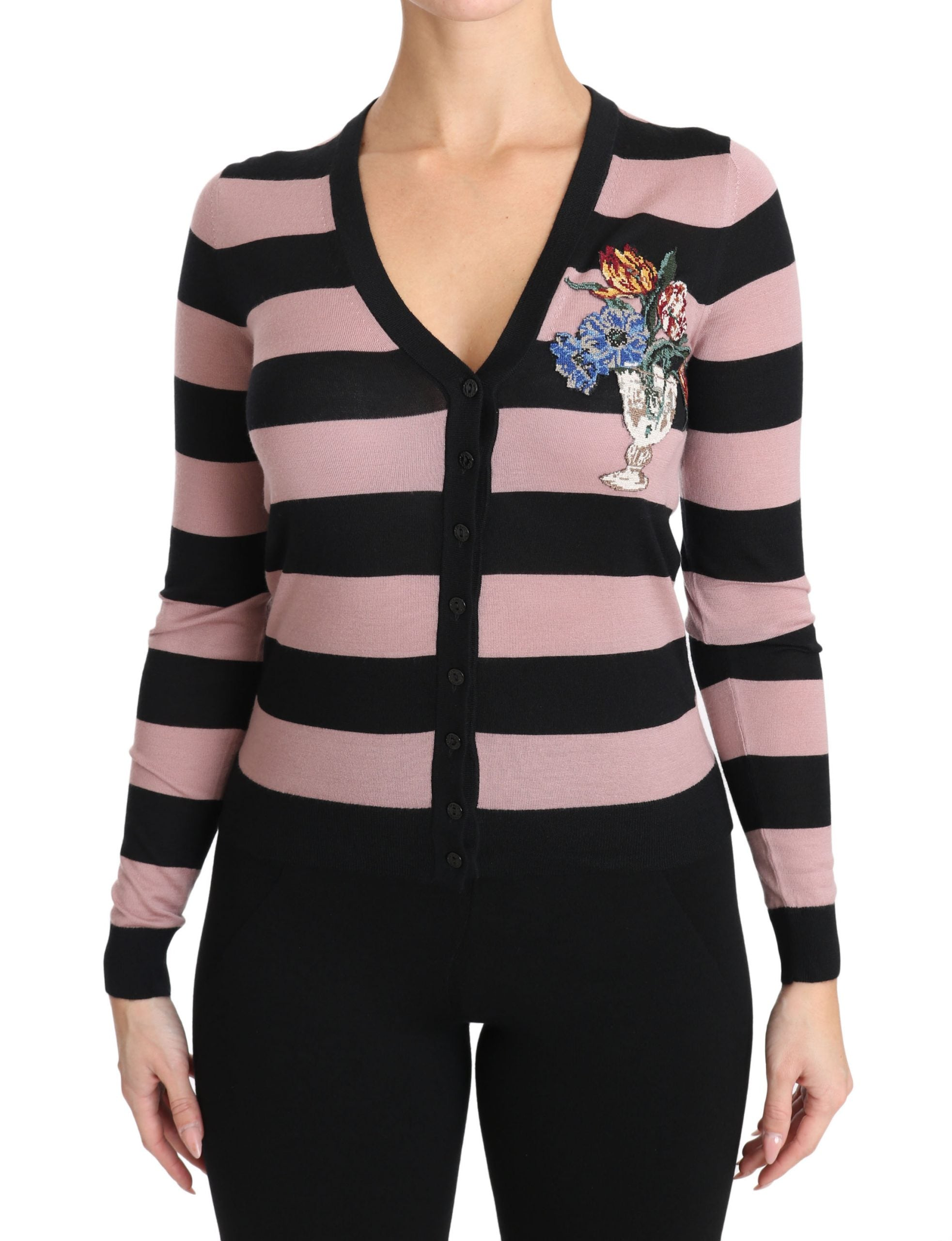 Image of Dolce & Gabbana Pink Floral Cashmere Cardigan Sweater