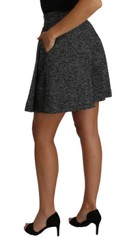Dolce & Gabbana Gray Wool High Waist Mini Shorts Skirt - Azura Runway