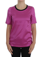 Dolce & Gabbana Pink Silk Stretch Top Blouse T-shirt - Azura Runway