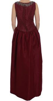 Dolce & Gabbana Bordeaux Crystal Ball Gown Full Dress - Azura Runway