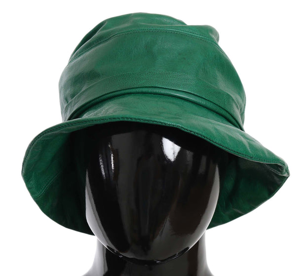 Dolce & Gabbana Green Goat Leather Bucket Cap Hat