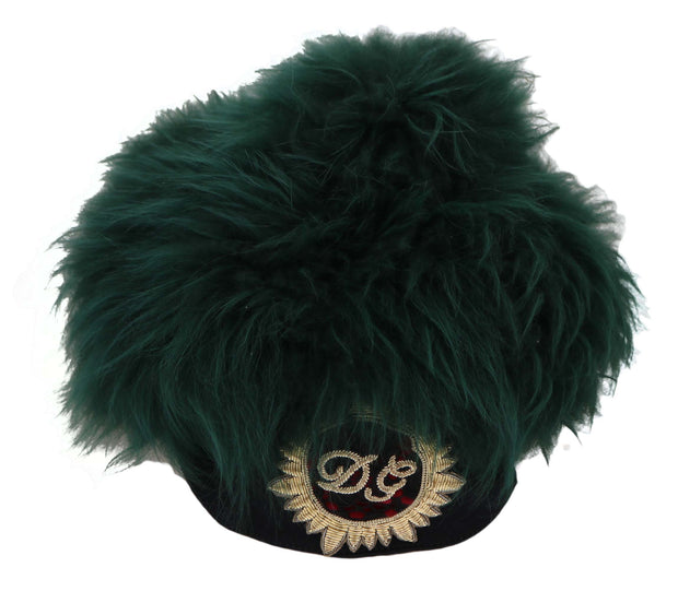Dolce & Gabbana Green Fur DG Logo Embroidered Cloche Hat