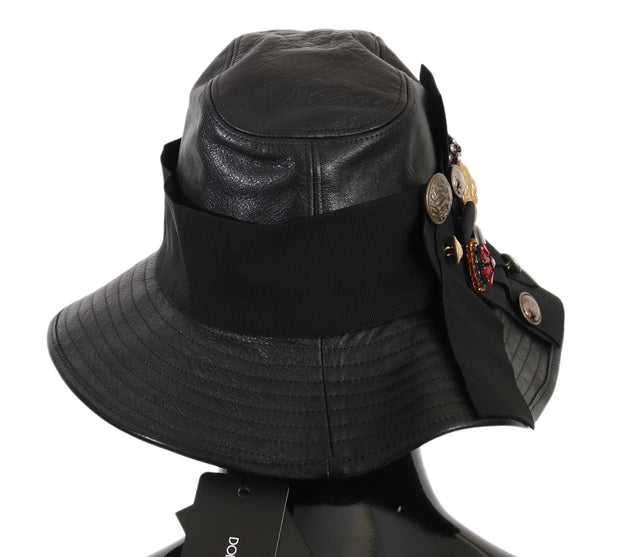 Dolce & Gabbana Black Leather DG Coin Crystal Wide Brim Hat