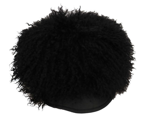 Dolce & Gabbana Black Tibet Lamb Fur Leather Gatsby Hat