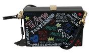 Dolce & Gabbana Hand Painted Wooden Black BOX SICILY Leather Purse