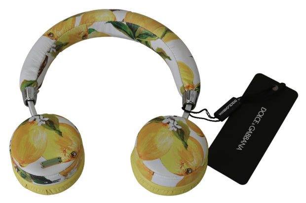 Dolce & Gabbana White Yellow Lemon Print Headset Headphones One Size