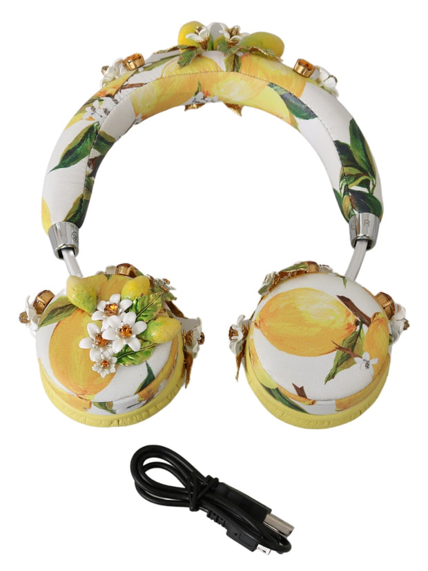 Dolce & Gabbana Yellow Lemon Crystal Floral Headset Headphones One