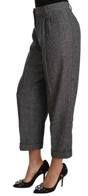 Dolce & Gabbana Gray Wool Pleated Cropped Trouser Pants - Azura Runway