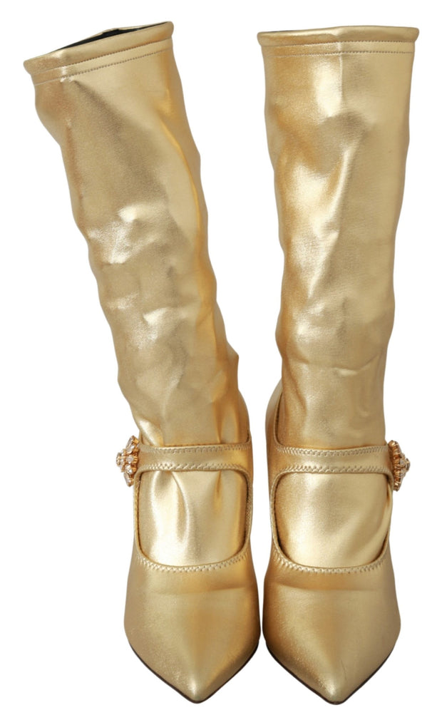 Dolce & Gabbana Gold Stretch Pumps Heels Booties Shoes