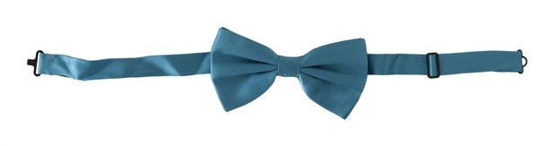 Dolce & Gabbana Light Blue 100% Silk Adjustable Neck Papillon Bow Tie - Azura Runway