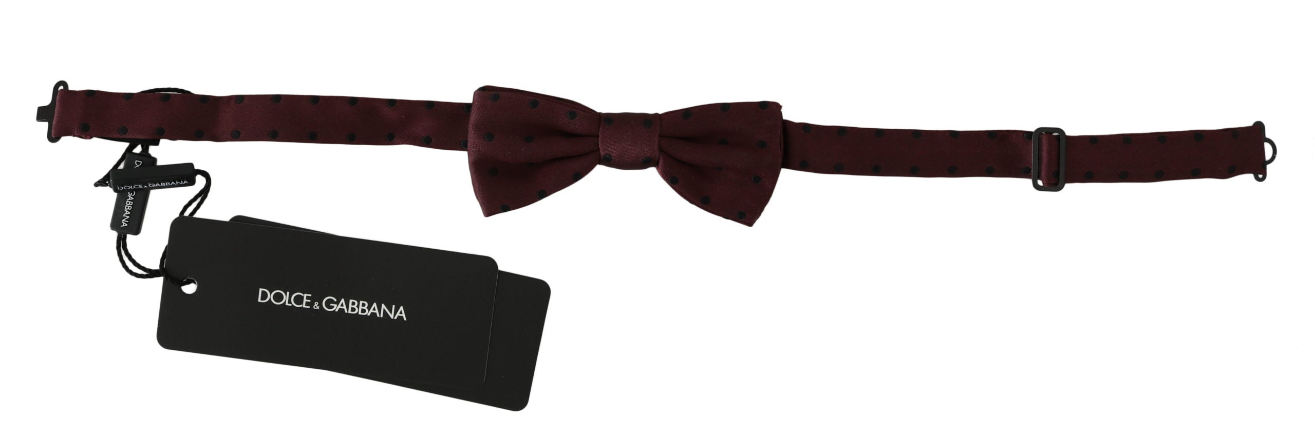 Image of Dolce & Gabbana Purple Dotted Silk Adjustable Neck Papillon Bow Tie