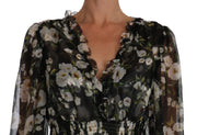 Dolce & Gabbana Black Daisy Floral Silk Shift A-Line Dress - Azura Runway