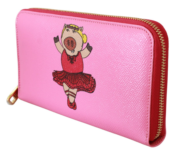 Dolce & Gabbana Pink Year Of The Pig Continental Clutch Leather