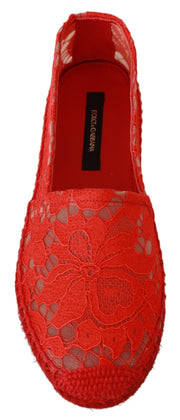 Red Lace Cotton Espadrilles Flats Shoes