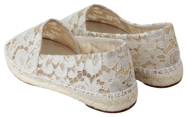 Beige Lace Cotton Espadrilles Shoes