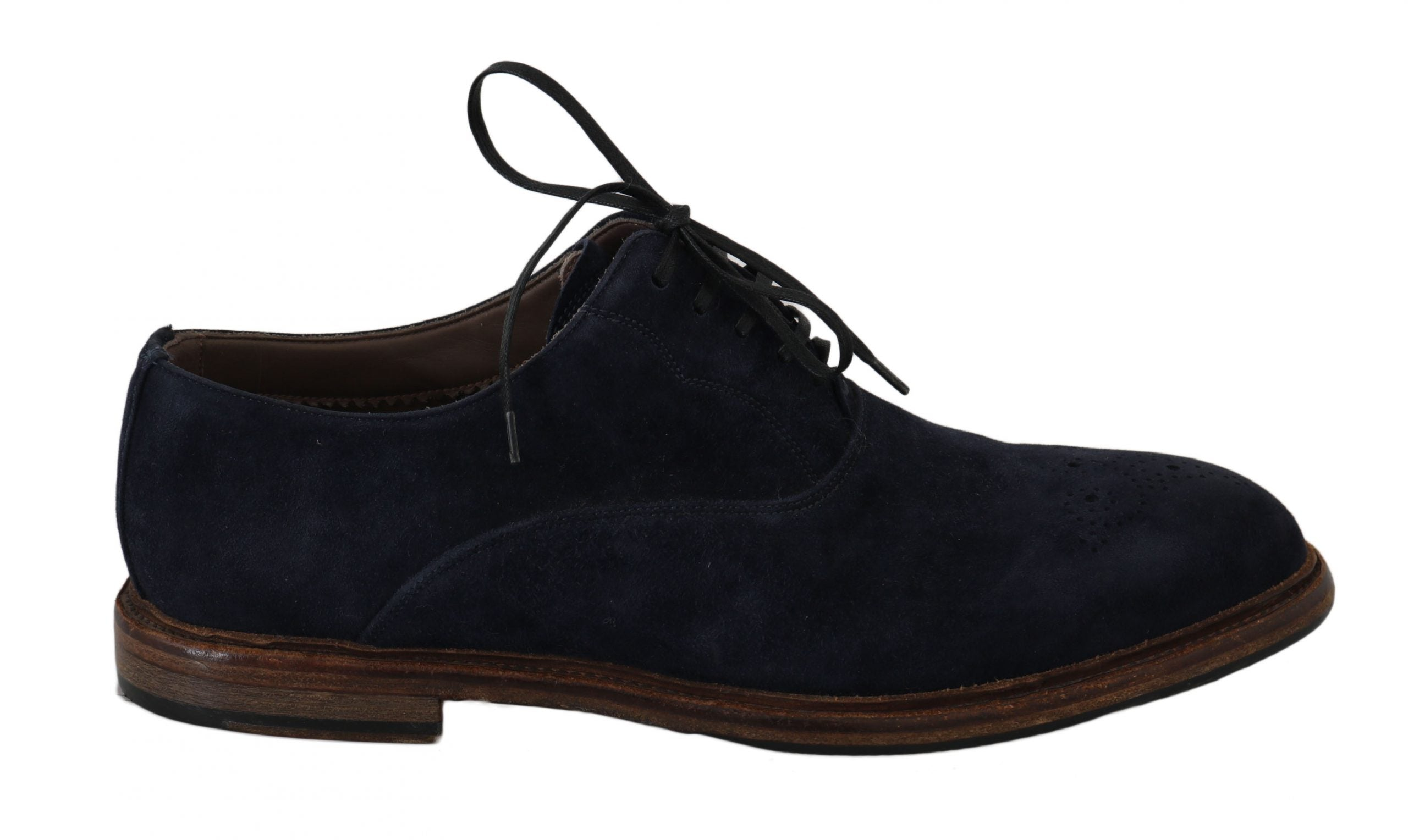 Image of Dolce & Gabbana Blue Leather Marsala Derby Goatskin Shoes