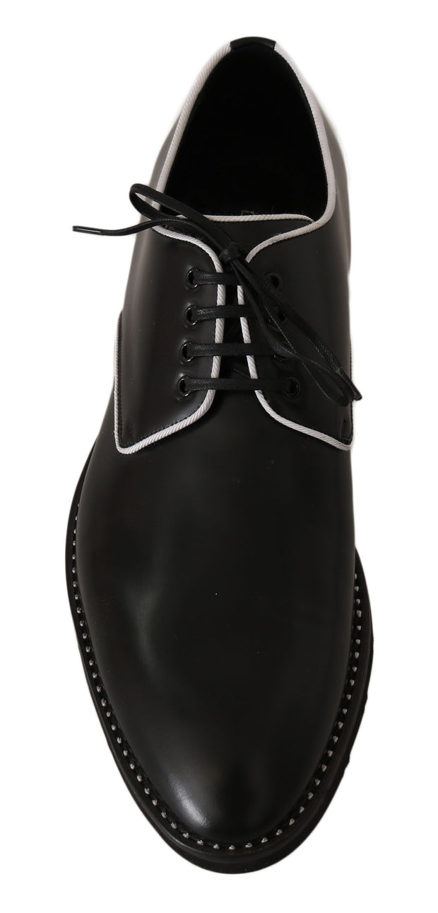 Dolce & Gabbana Black Leather White Line Dress Derby Shoes