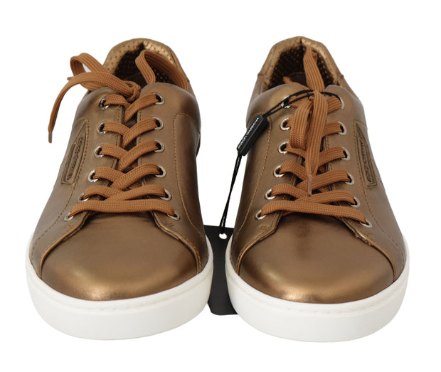 Dolce & Gabbana Gold Leather Mens Casual Sneakers - Azura Runway