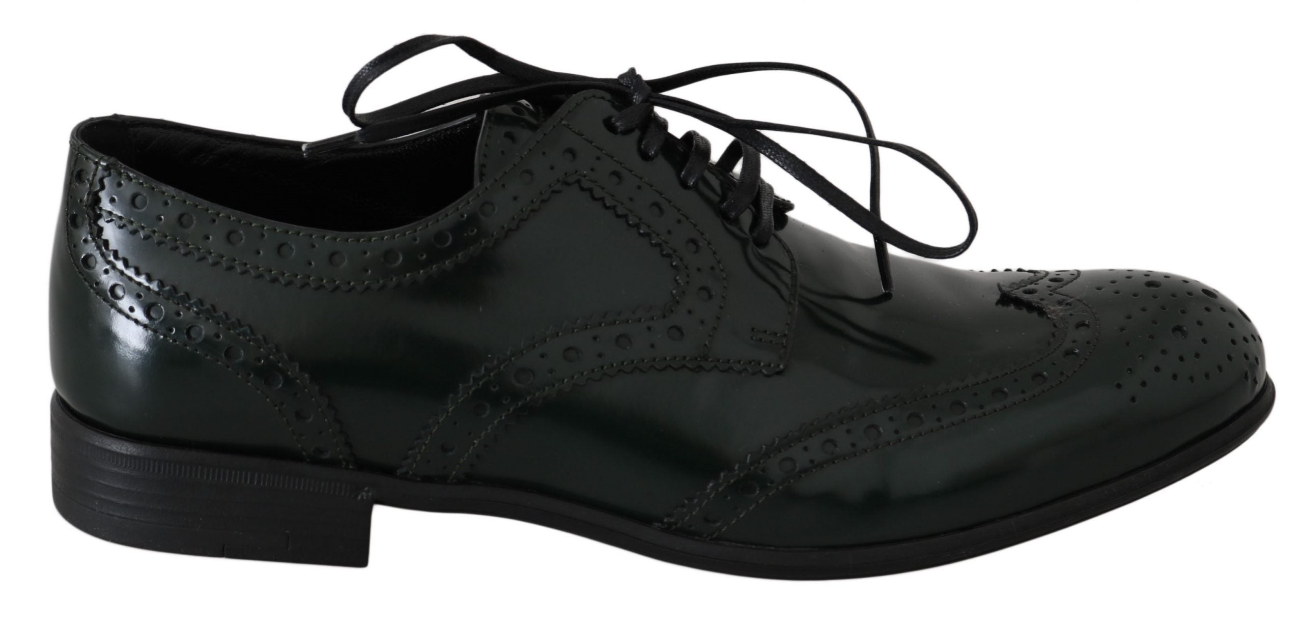 Image of Dolce & Gabbana Green Leather Broque Oxford Wingtip Shoes