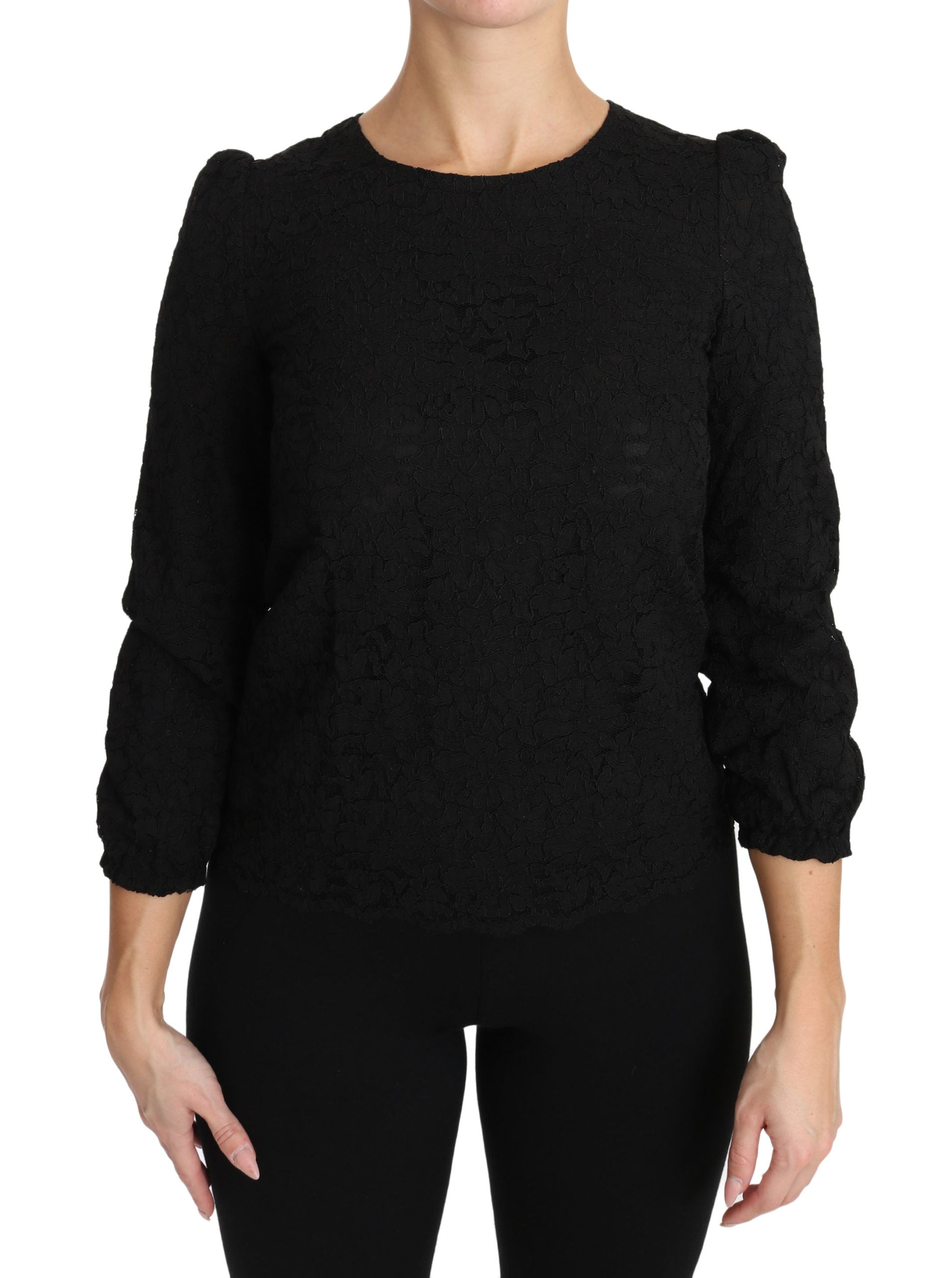 Image of Dolce & Gabbana Black Floral Lace Zipper Top Blouse