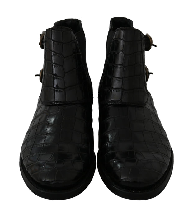 Dolce & Gabbana Black Crocodile Leather Derby Boots Shoes