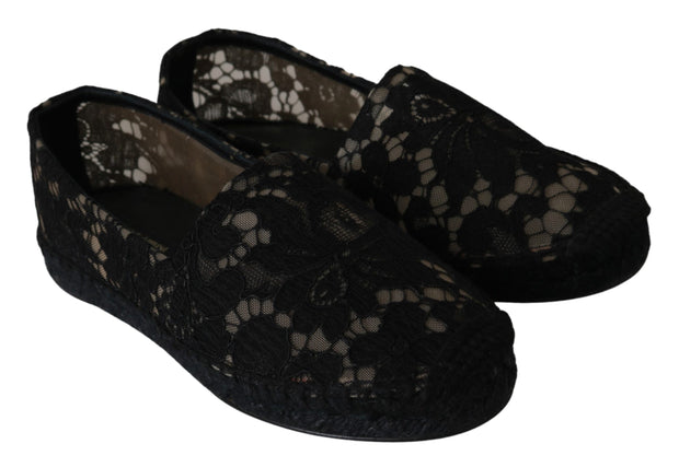 Dolce & Gabbana Black Lace Cotton Espadrilles Shoes