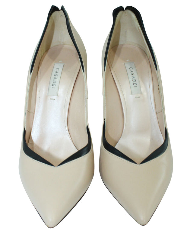 Casadei Beige Leather Pumps -Pre Owned Condition Very Good 38.5
