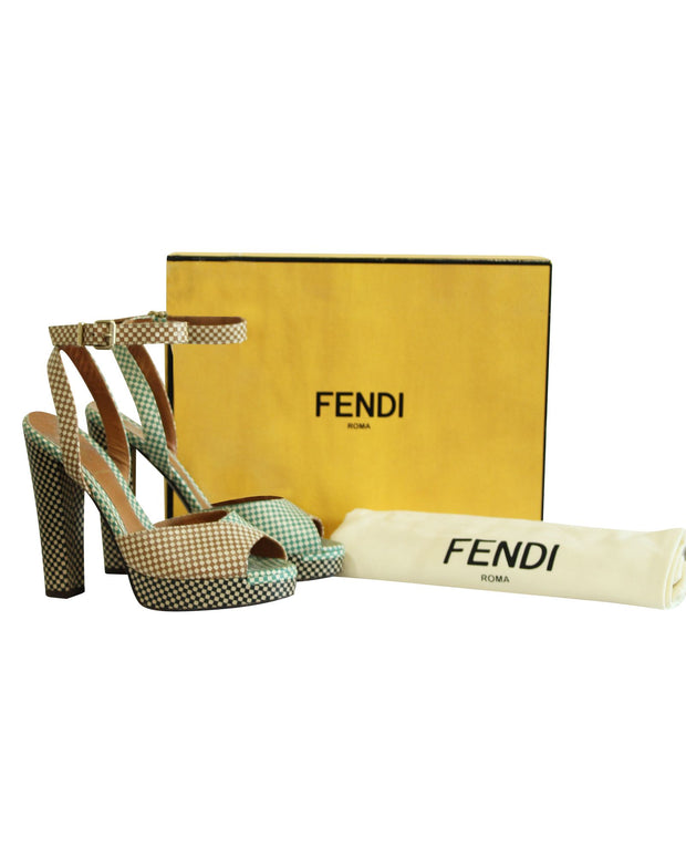 Fendi Checkered Peep Toes Sandals -Pre Owned Condition Very Good 37