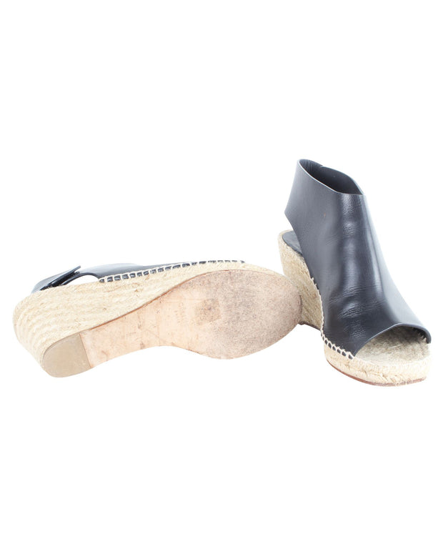 Celine Black Open Toe Espadrille Wedges -Pre Owned Condition Very