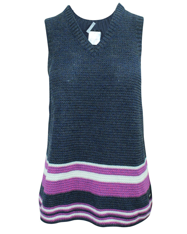 Chanel Dark Blue V-Neckline Sleeveless Top -Pre Owned Condition Very
