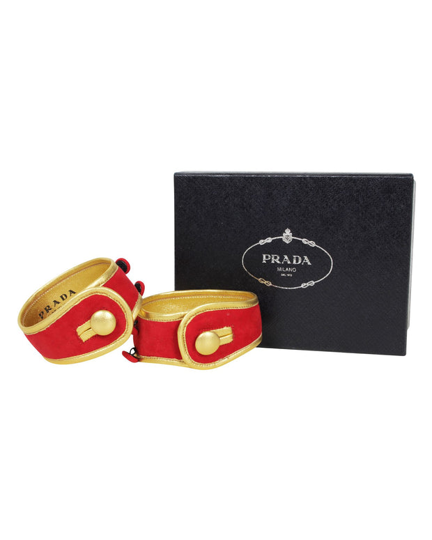 Prada Red Velvet Bangle Twinset -Pre Owned Condition Excellent