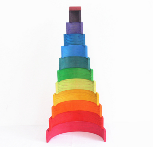 Rainbow Wooden Building Blocks