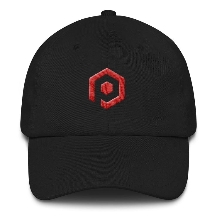 Black and Red Classic Cap with 3D Embroidered Icon