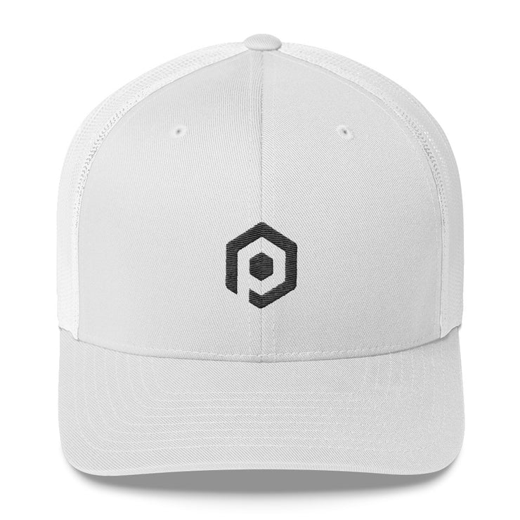 Black and White Mesh Trucker Cap with 3D Embroidered Icon
