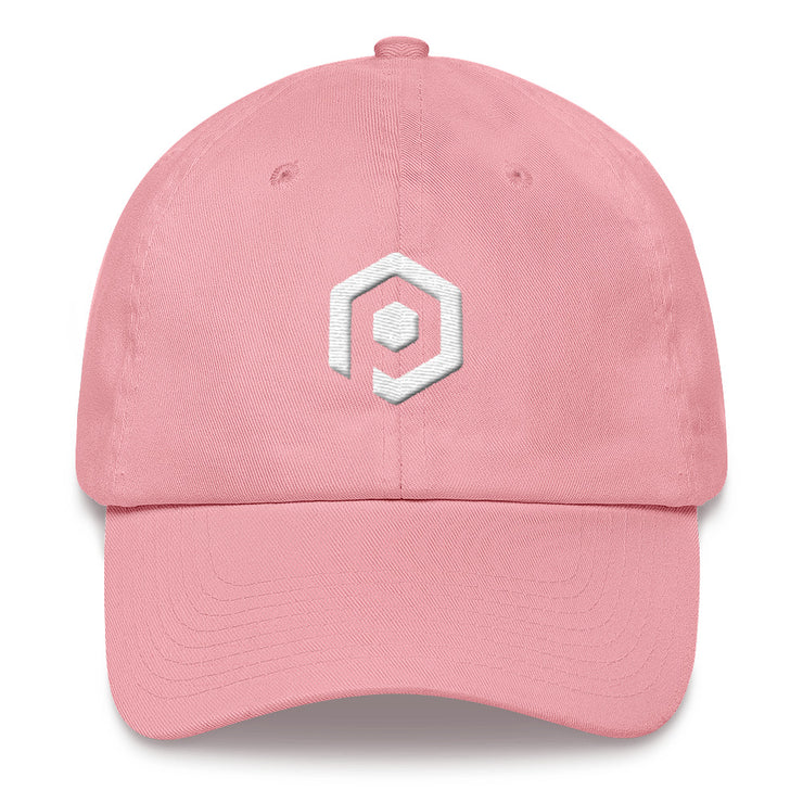 Pink and White Classic Cap with 3D Embroidered Icon