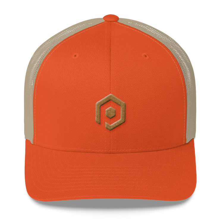 Rustic Orange and Khaki Mesh Trucker Cap with 3D Embroidered Icon