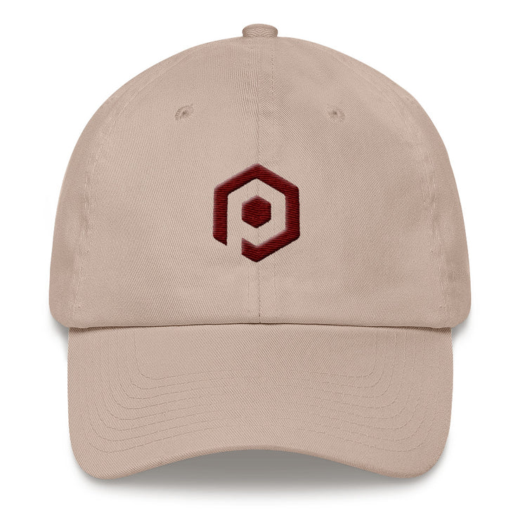 Stone and Maroon Classic Cap with 3D Embroidered Icon
