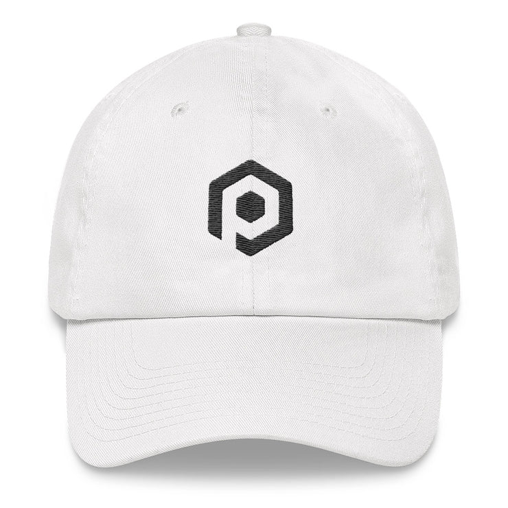 White and Black Classic Cap with 3D Embroidered Icon