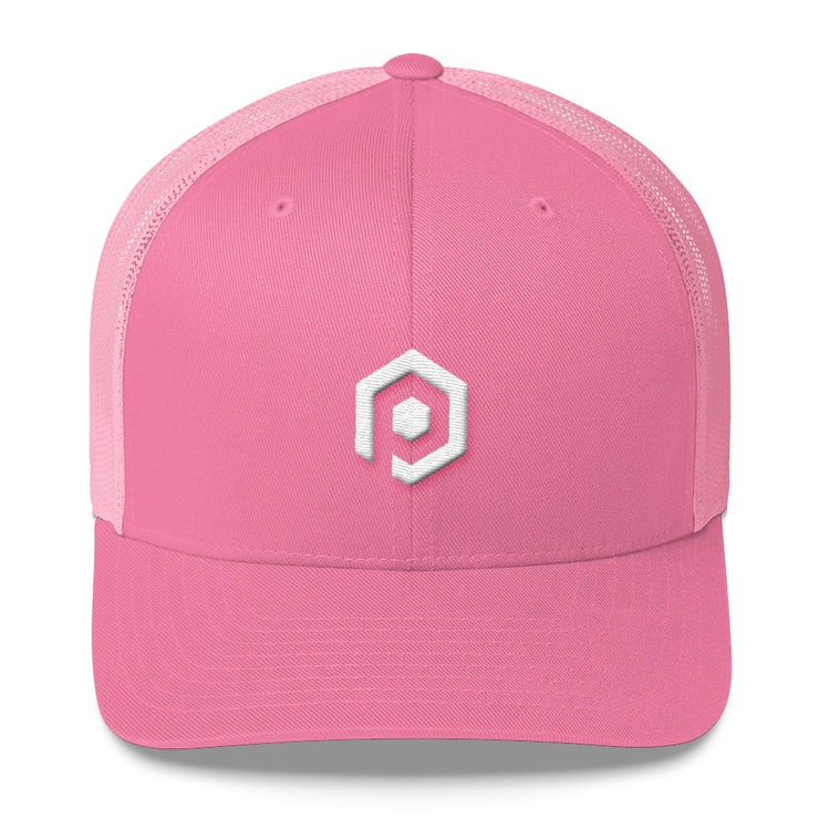 White and Pink Mesh Trucker Cap with 3D Embroidered Icon