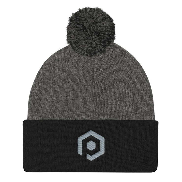 Dark Gray and Black Knit Pom Beanie with Embroidered Icon
