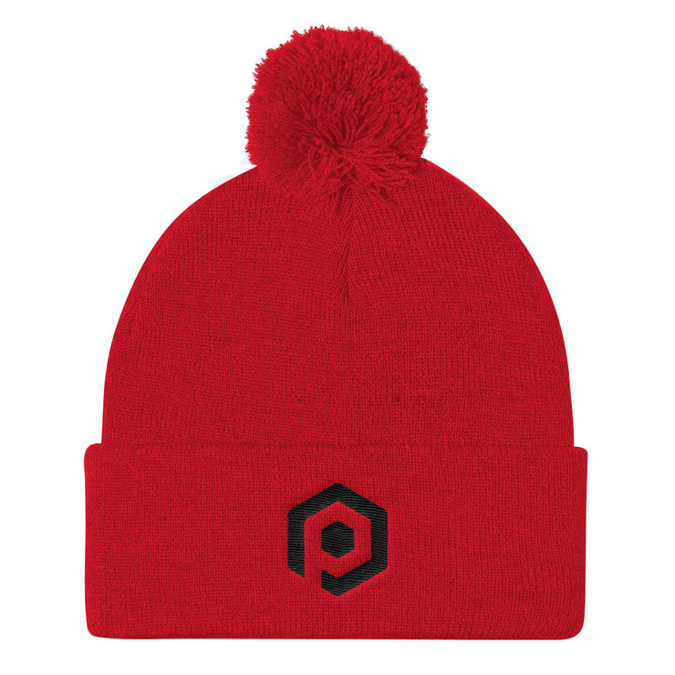 Red and Black Knit Pom Beanie with Embroidered Icon