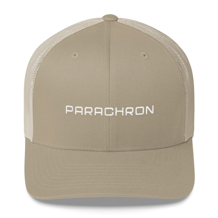 White and Khaki Mesh Trucker Cap with Embroidered Wordmark