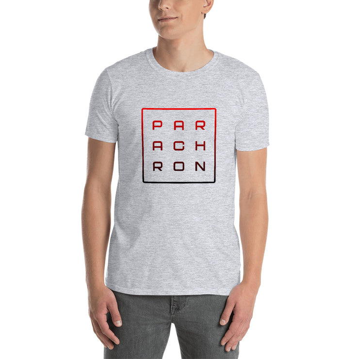 PAR-ACH-RON Ombre Red to Black Core on Gray Men's T-Shirt