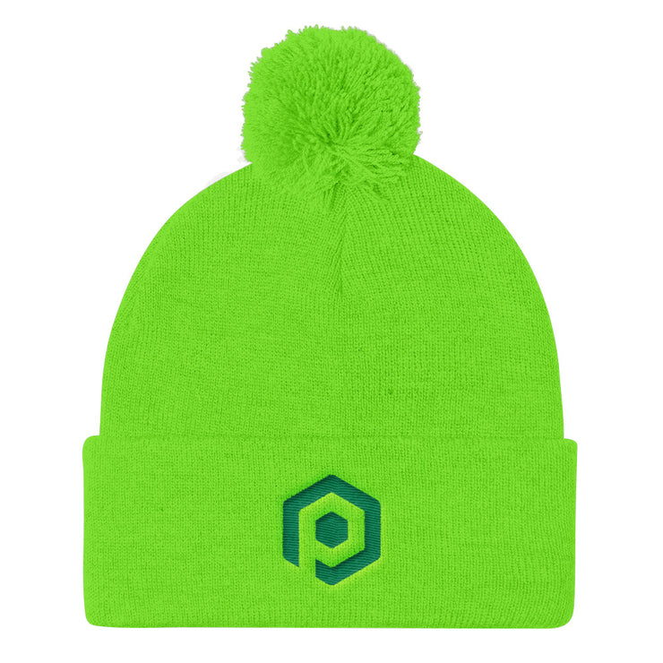 Neon Green and Kelly Green Knit Pom Beanie with Embroidered Icon