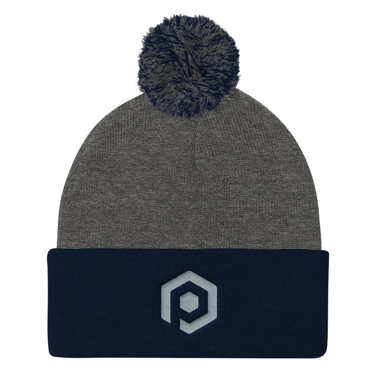 Dark Gray and Navy Blue Knit Pom Beanie with Embroidered Icon
