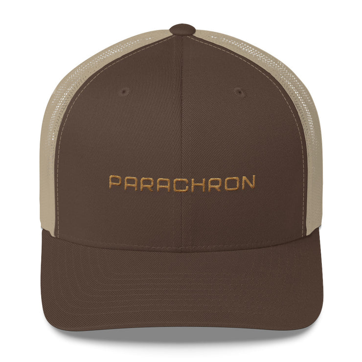 Brown and Khaki Mesh Trucker Cap with Embroidered Wordmark